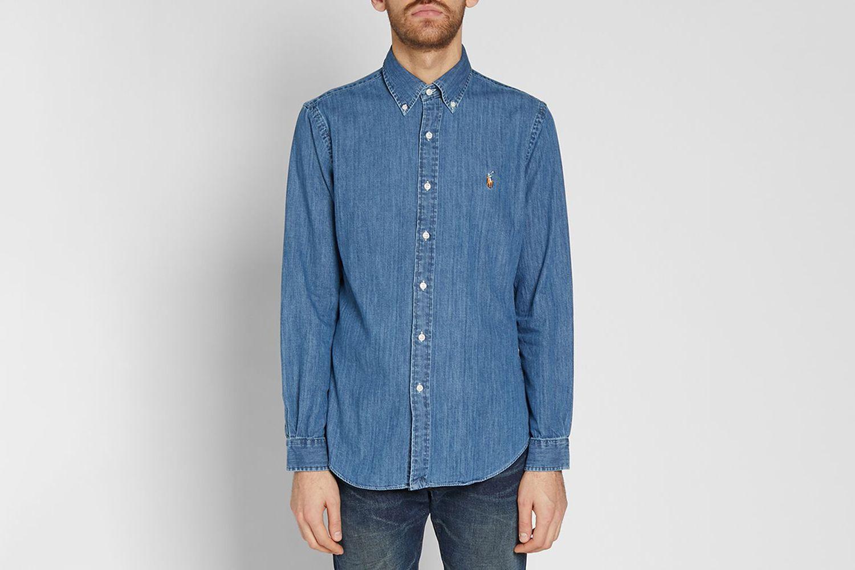 Slim Fit Button Down Denim Shirt
