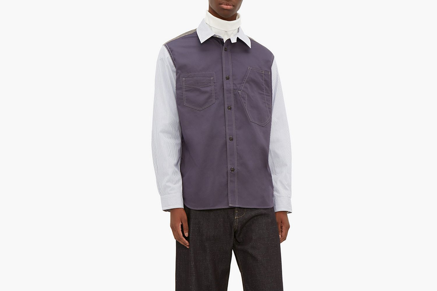 Patchwork Canvas And Pinstriped Cotton Shirt