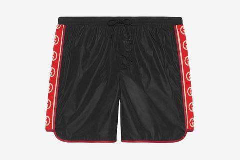 Nylon Swim Shorts With Logo Stripe