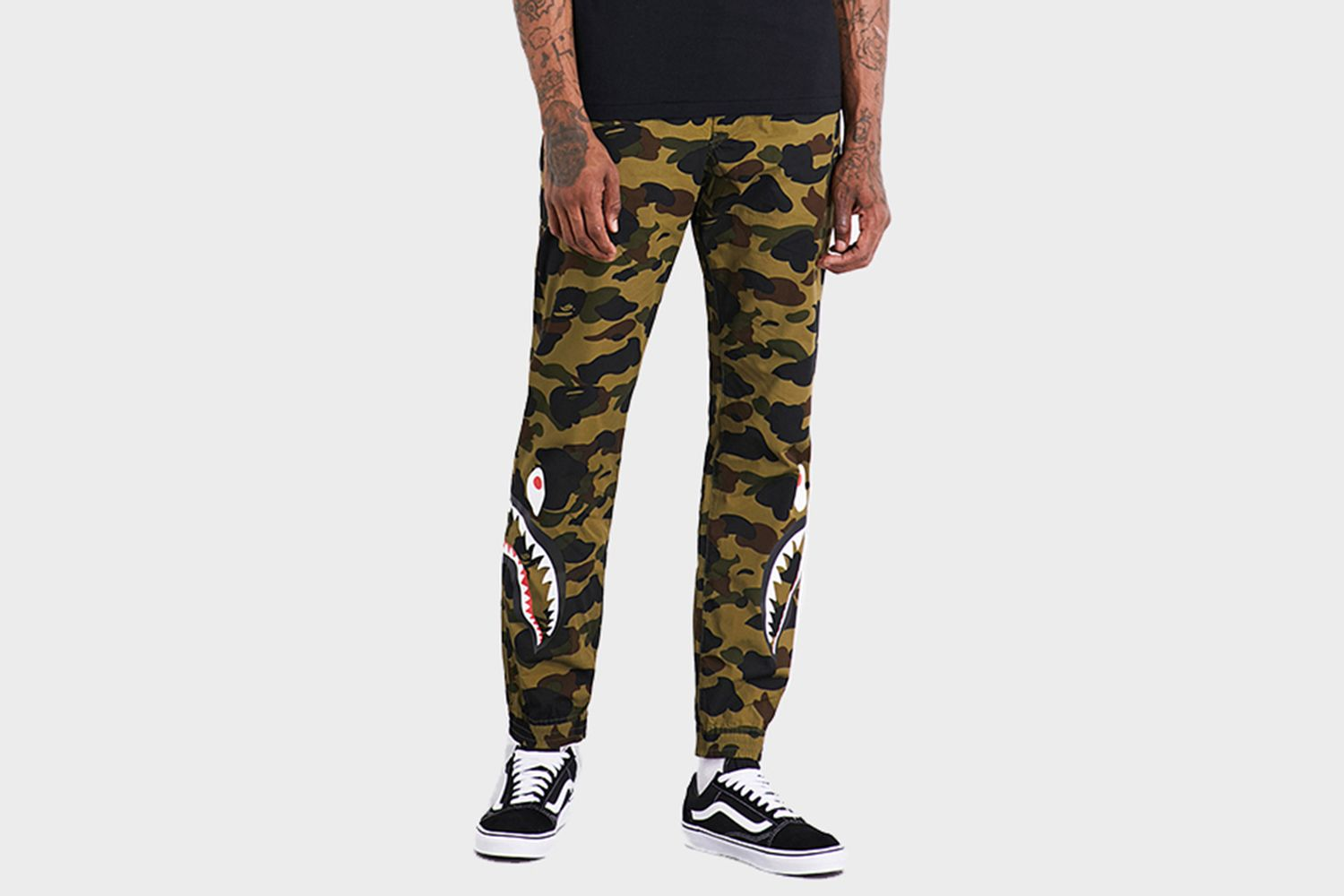 1st Camo Shark Print Cotton Pants
