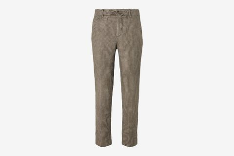 Tomi Houndstooth Linen Suit Trousers
