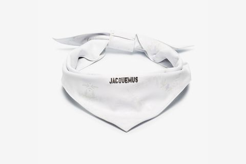 White Rosemary Print Leather Bandana