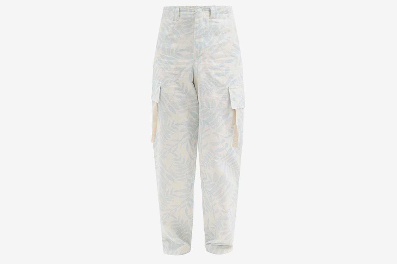 Alzu Leaf-Print Cotton Cargo Trousers