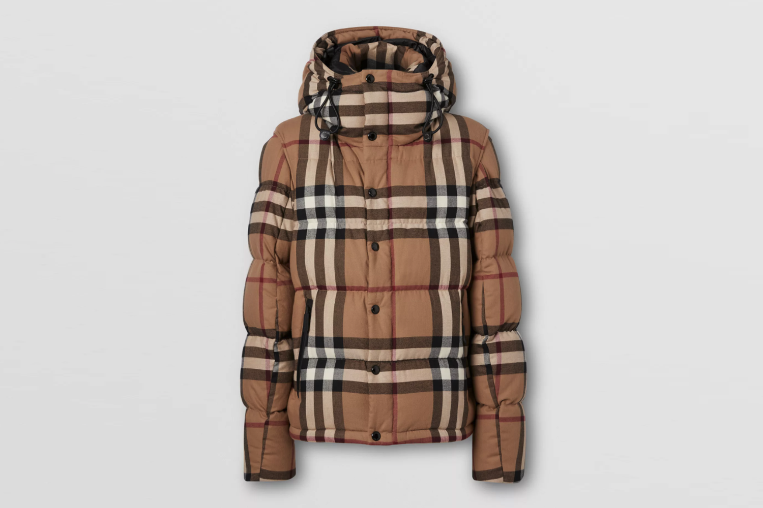 Detachable Sleeve Check Cotton Hooded Puffer