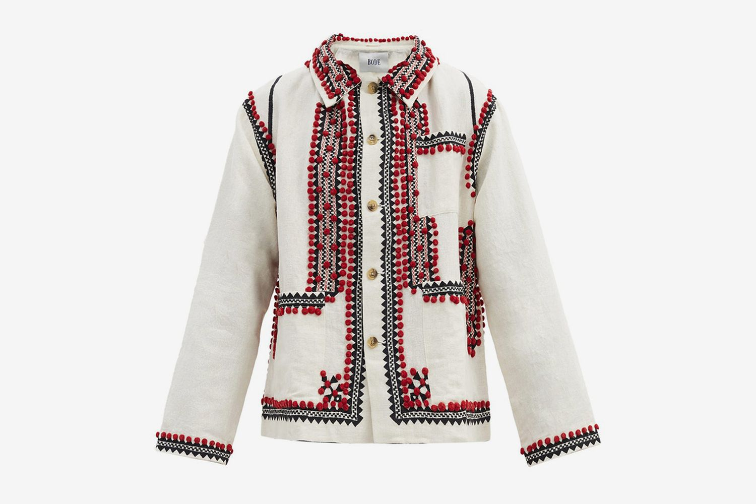 Pompom-Embroidered Linen-Blend Canvas Jacket