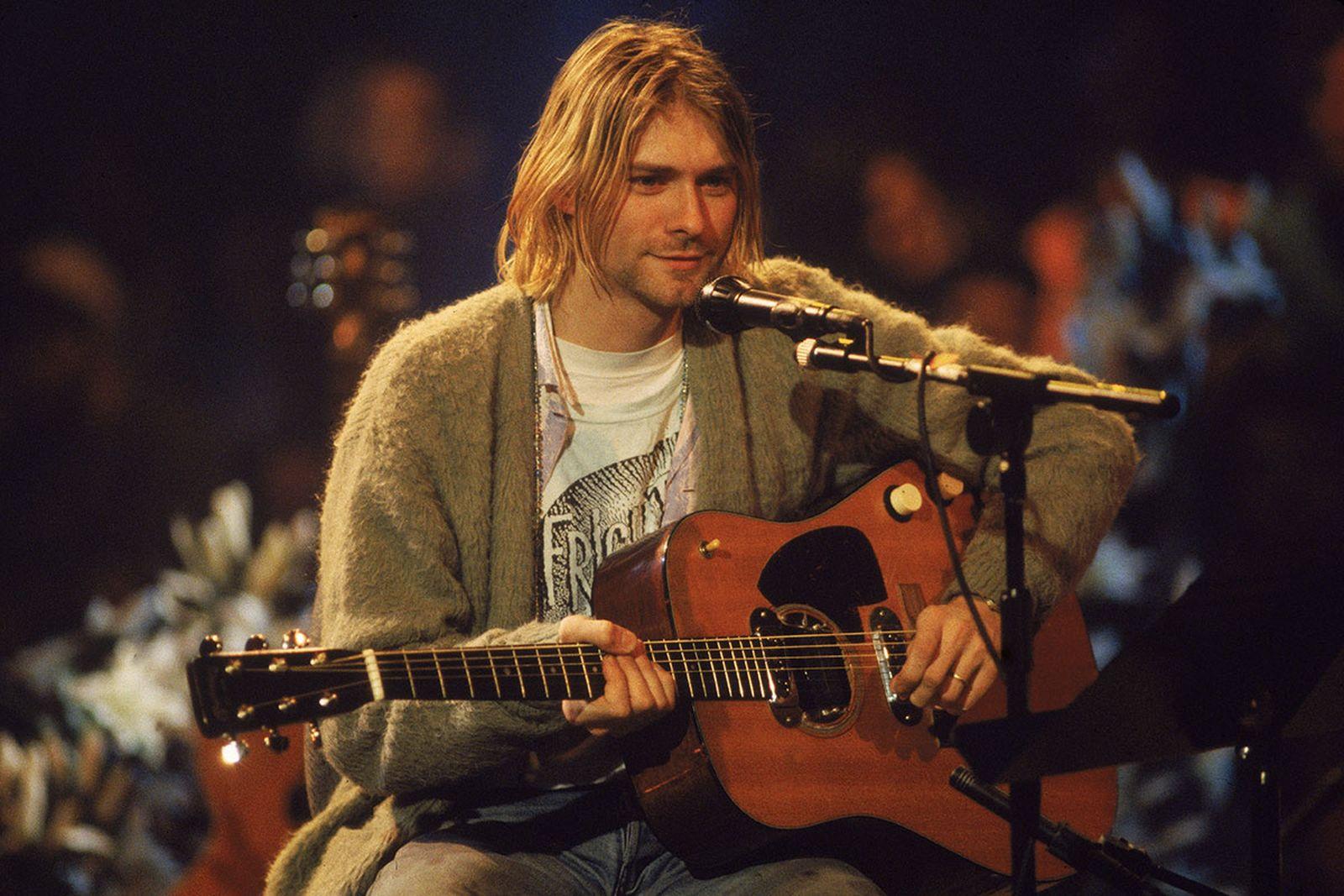 Kurt Cobain 'MTV Unplugged' olive cardigan, guitar