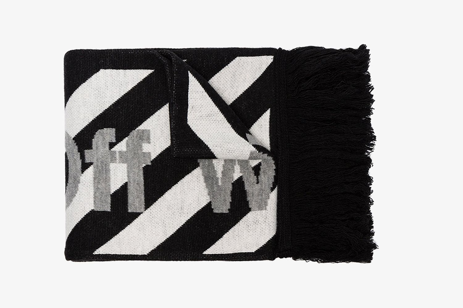Striped Logo Wool Scarf