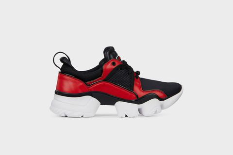 Men's Black and Red JAW Low Sneakers in Neoprene and Leather