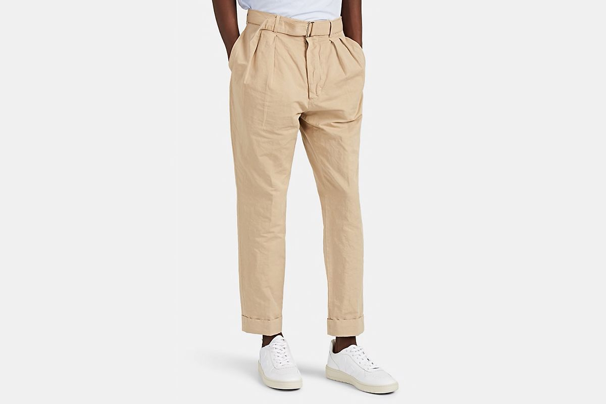 Cotton-Linen Belted Carrot Trousers