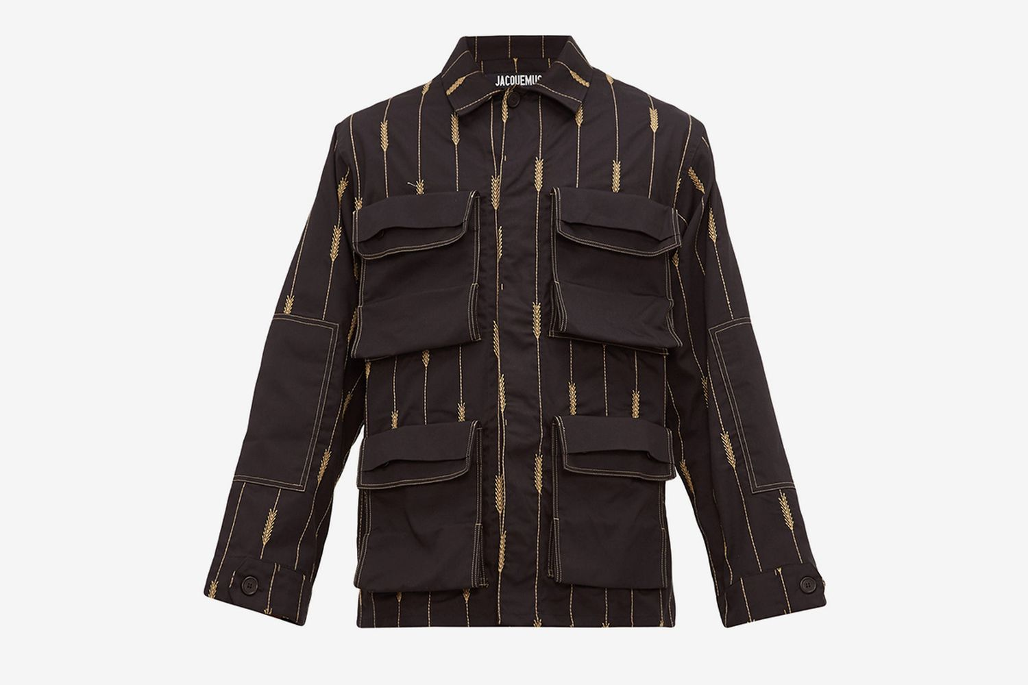 Wheat-embroidered Twill Overshirt