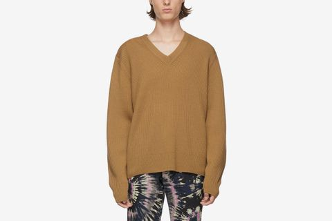 Ribbed Merino V-Neck Sweater