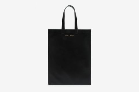 Logo-Stamped Leather Tote Bag