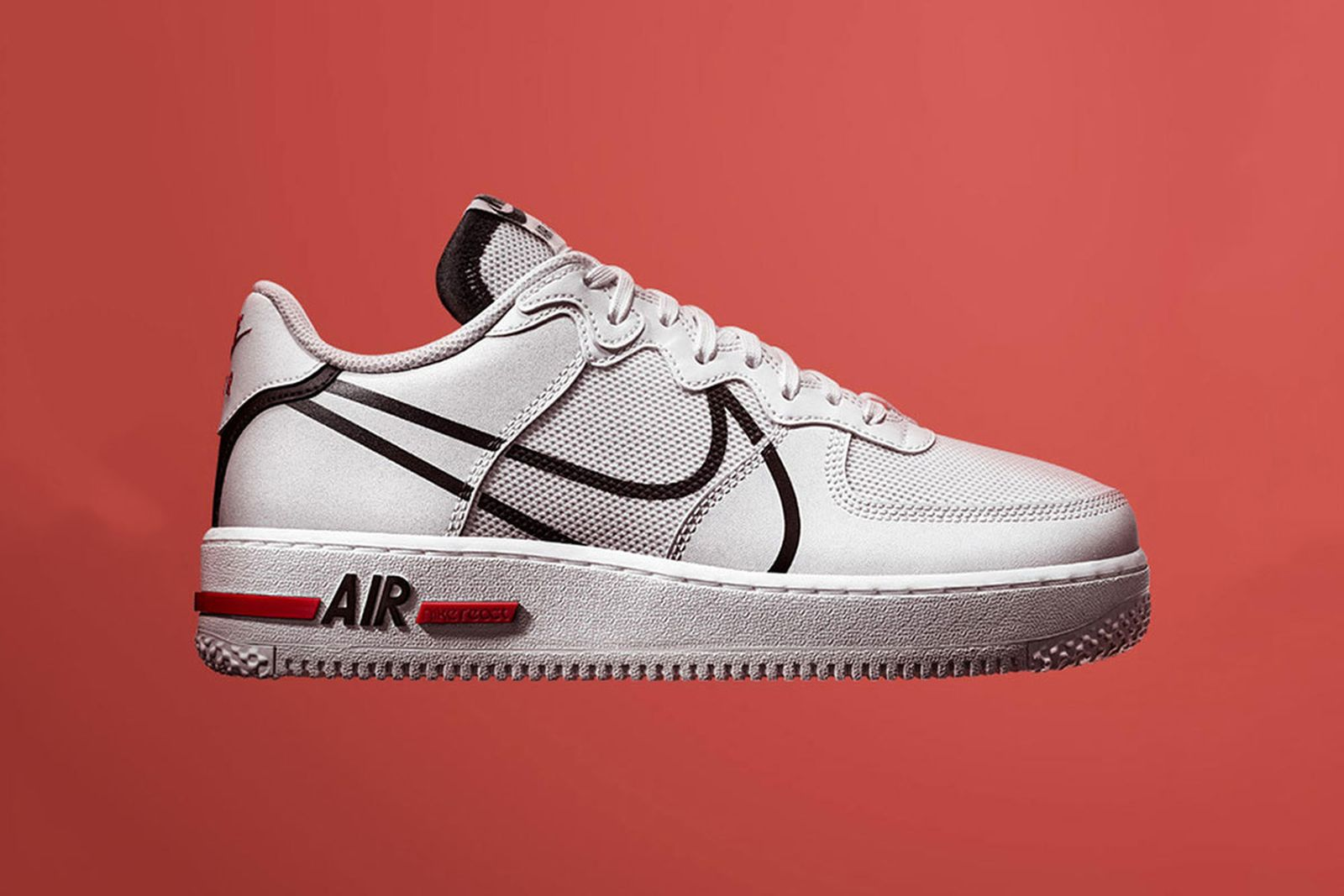 air force 1 react bianche e rosse