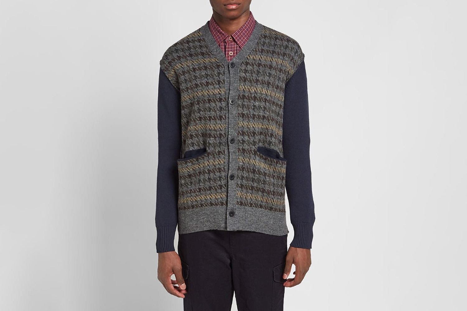 Houndstooth Check Cardigan
