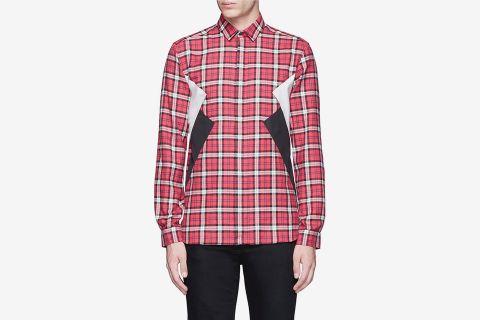 Colorblock Tartan Plaid Shirt
