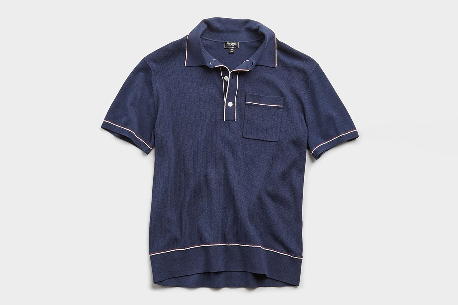 Italian Cotton Silk Tipped Ribbed Polo Sweater