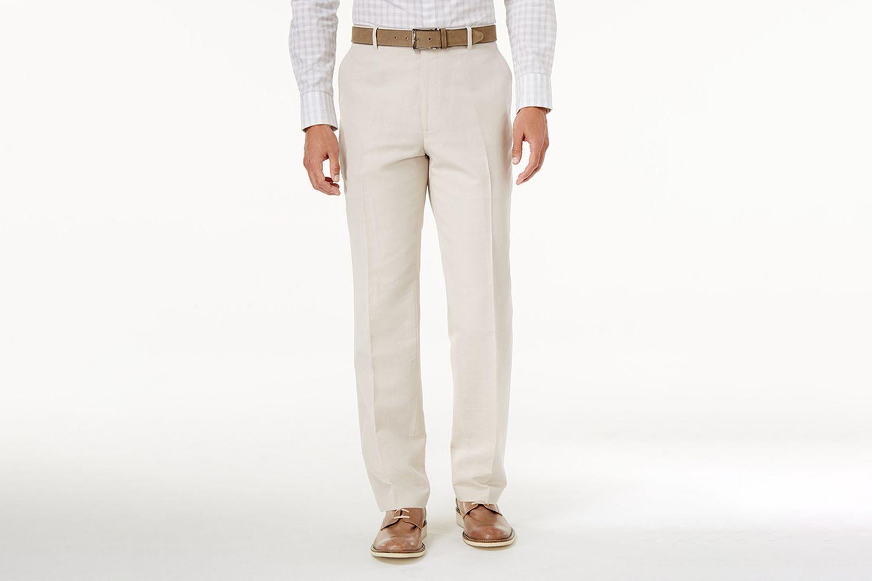 Linen-Blend Dress Pants