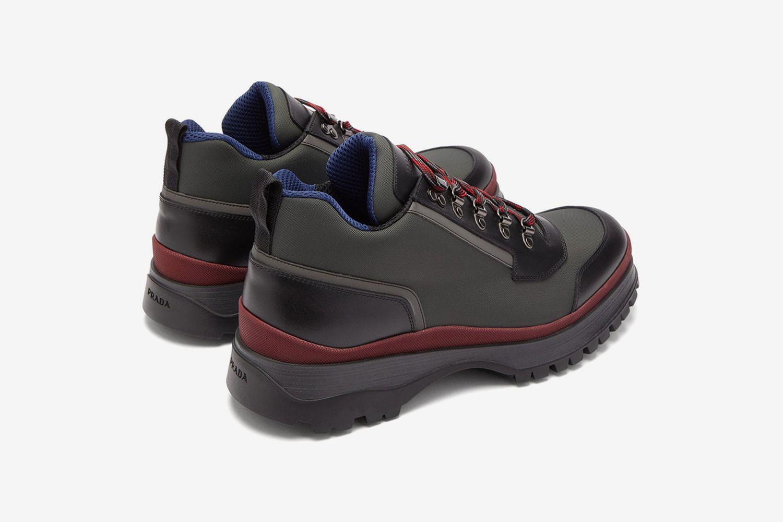 Brixxen Leather Trim Twill Trainers