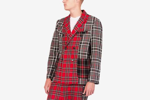 SS Patchwork Tartan Double Breasted Jacket