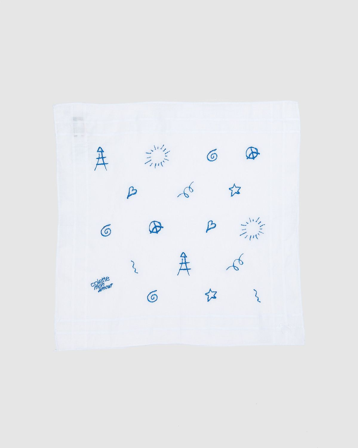 Colette Mon Amour x Thom Browne - White Embroidered Pocket Square - Image 2