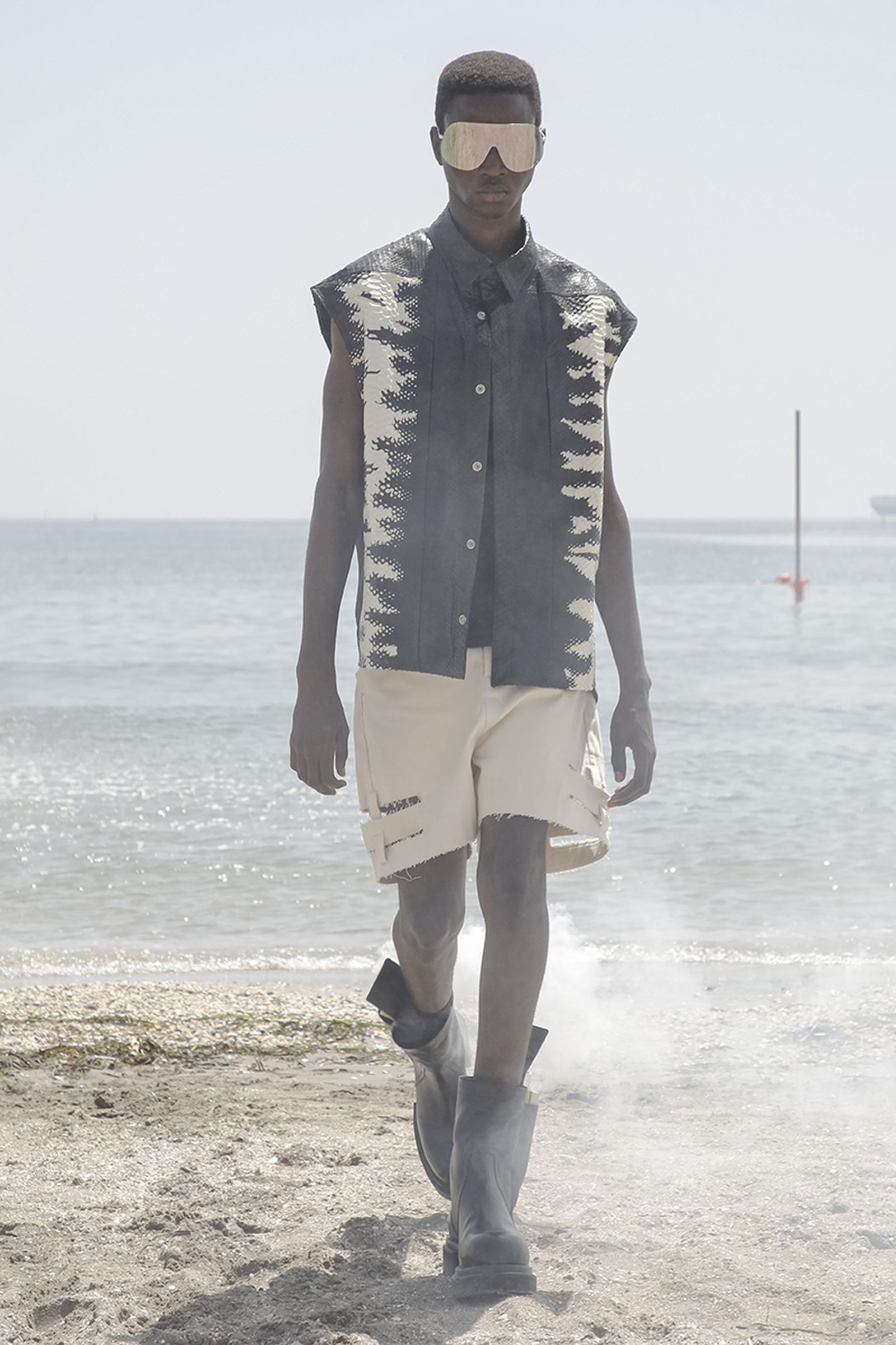 Model on the catwalk at the Rick Owens Fashion show in Venice Lido, Spring Summer 2022, Menswear Fashion Week