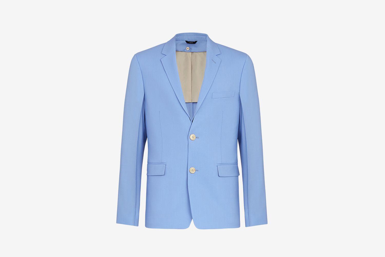 Light Blue Detachable Collar Blazer