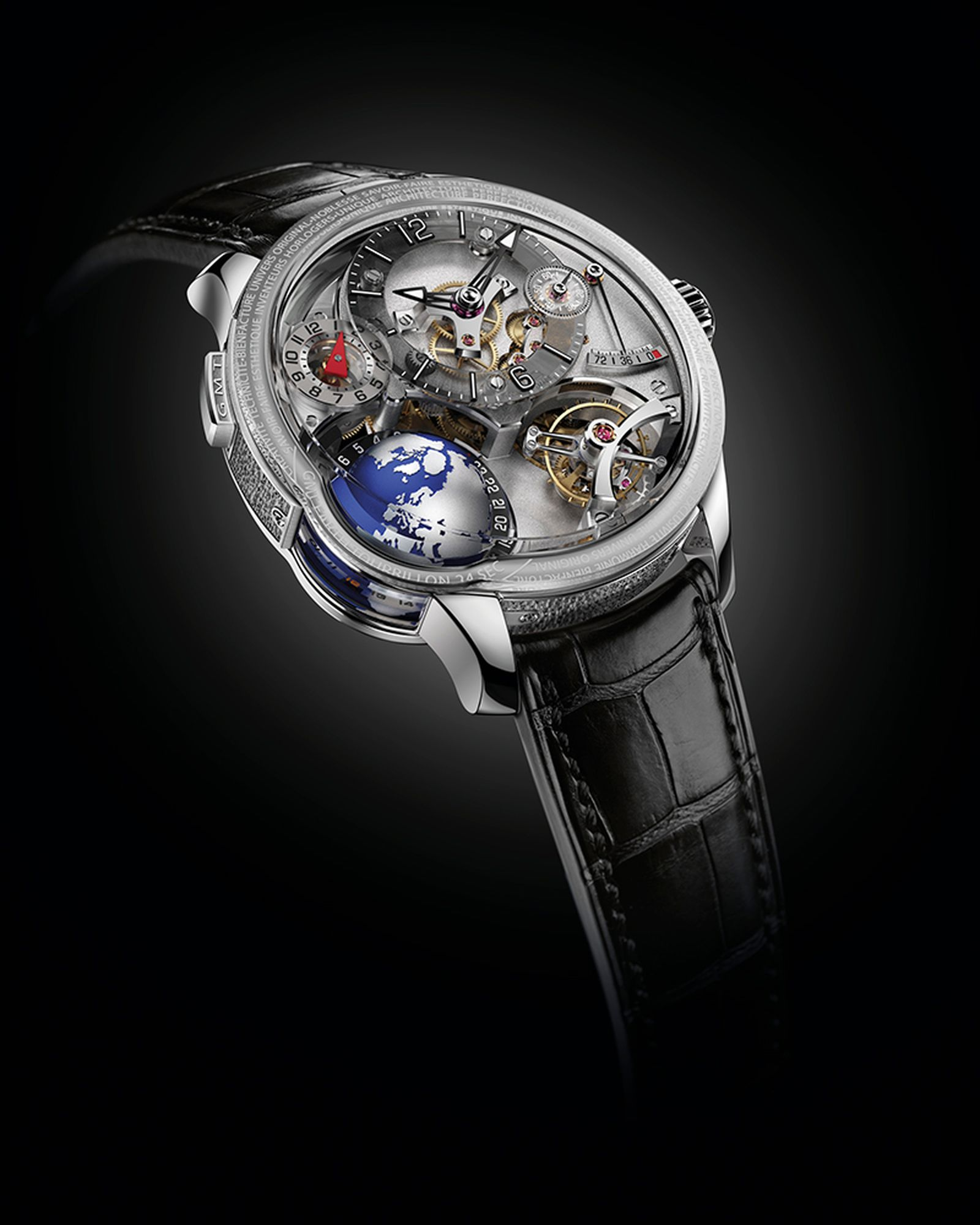 Greubel Forsey GMT Earth in white gold with rotating globe and universal time indication, as well as tourbillon. Limited edition of 33 pieces. Approximately $610,000.