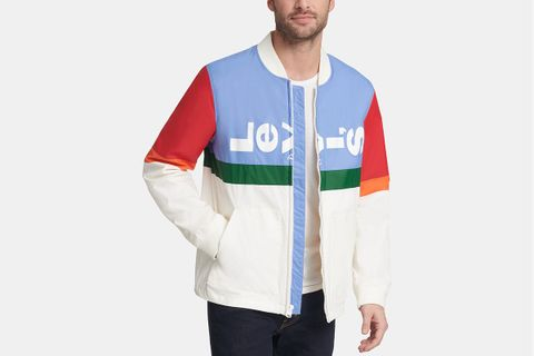 Colorblocked Logo Varsity Jacket