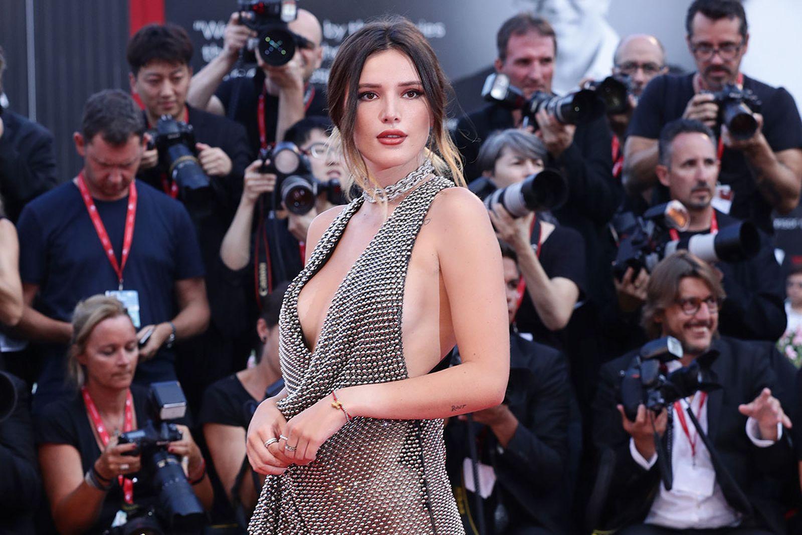 "Bella Thorne walks the red carpet ahead of the ""Joker"" screening"
