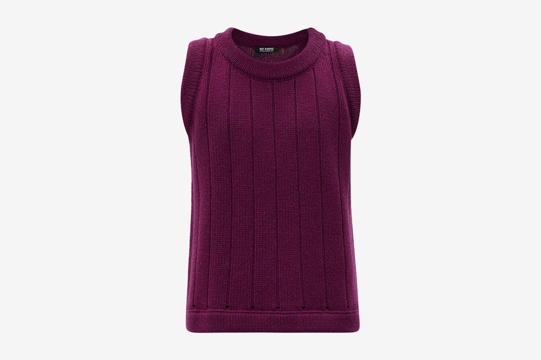 Ribbed Merino-Wool Sleeveless Sweater