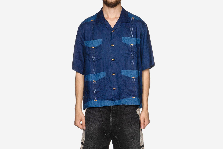 IDG Linen Wabash Dye Print Cuba Shirt