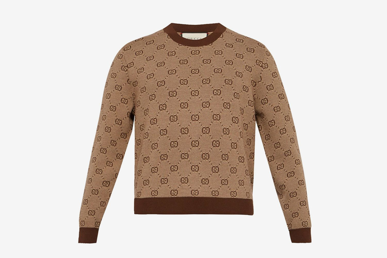 Jacquard Cropped Wool Blend Sweater