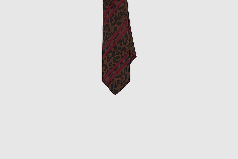 Leopard-Print & Striped Silk Tie