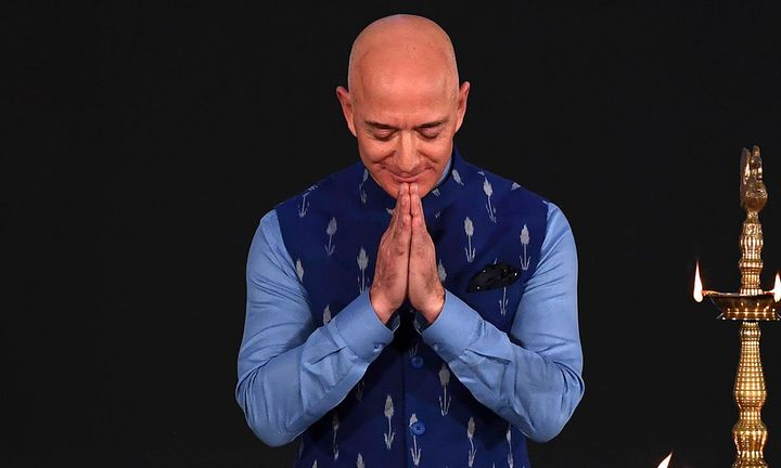 Jeff Bezos greets during Amazon event in India