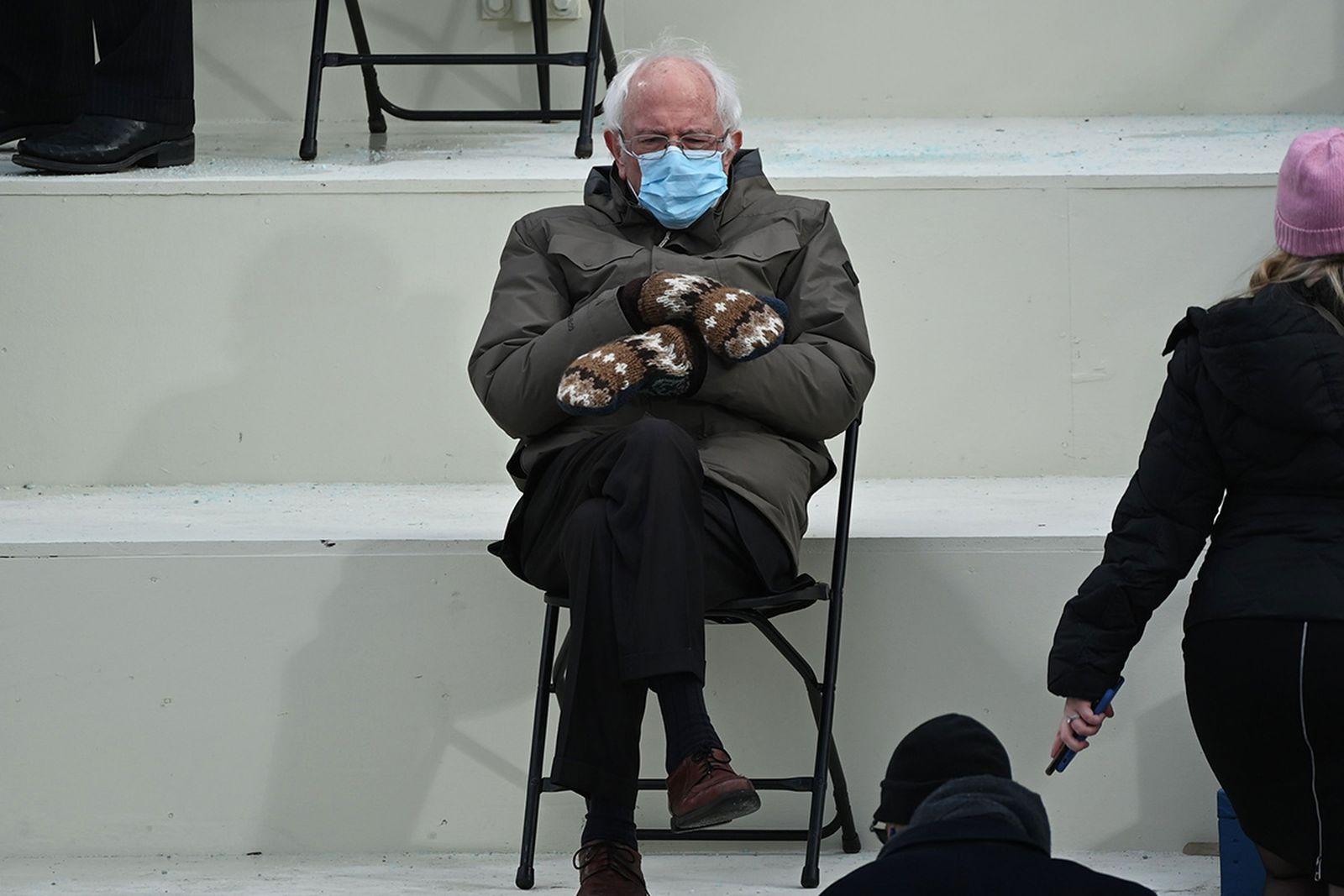 Bernie Sanders wearing mittens at inauguration