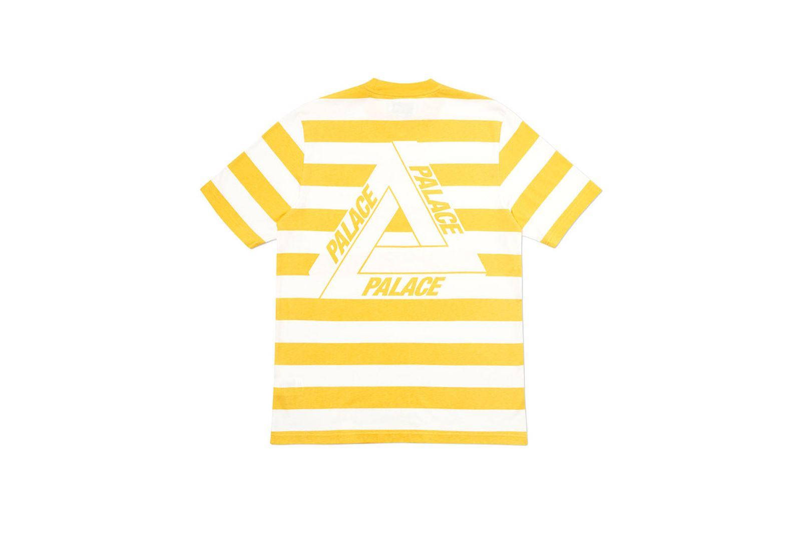 Palace 2019 Autumn T Shirt Heavy Stripe yellow back
