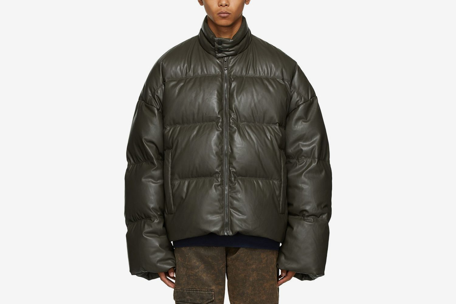 Down Faux-Leather Puffer Jacket