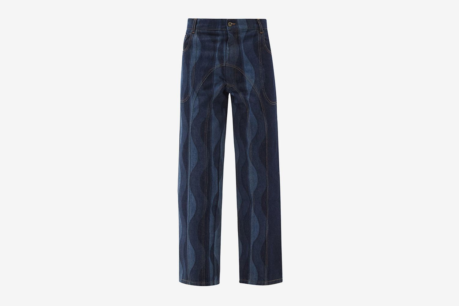 Wave-Print Recycled-Cotton Jeans
