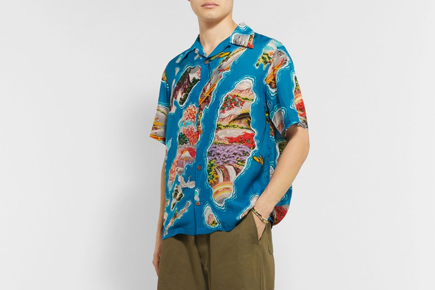 Camp-Collar Printed Voile Shirt