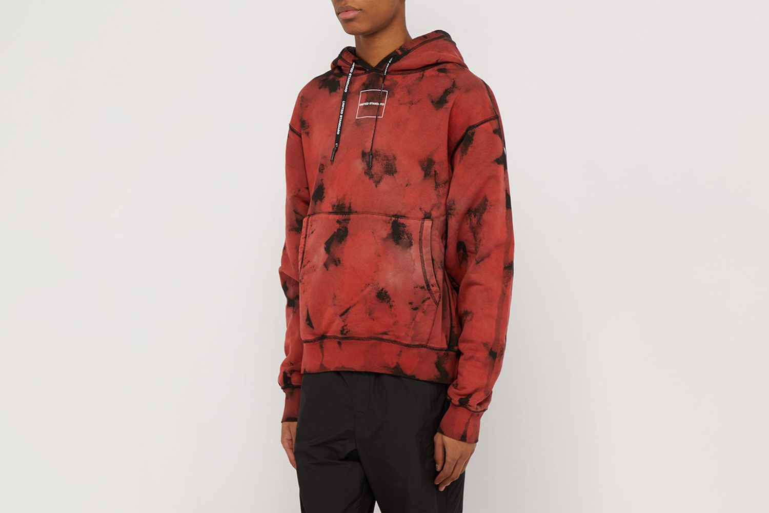 Acid Wash Effect Logo Print Hooded Sweatshirt