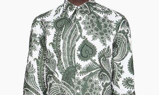 Givenchy Green & White Oversized Paisley Shirt