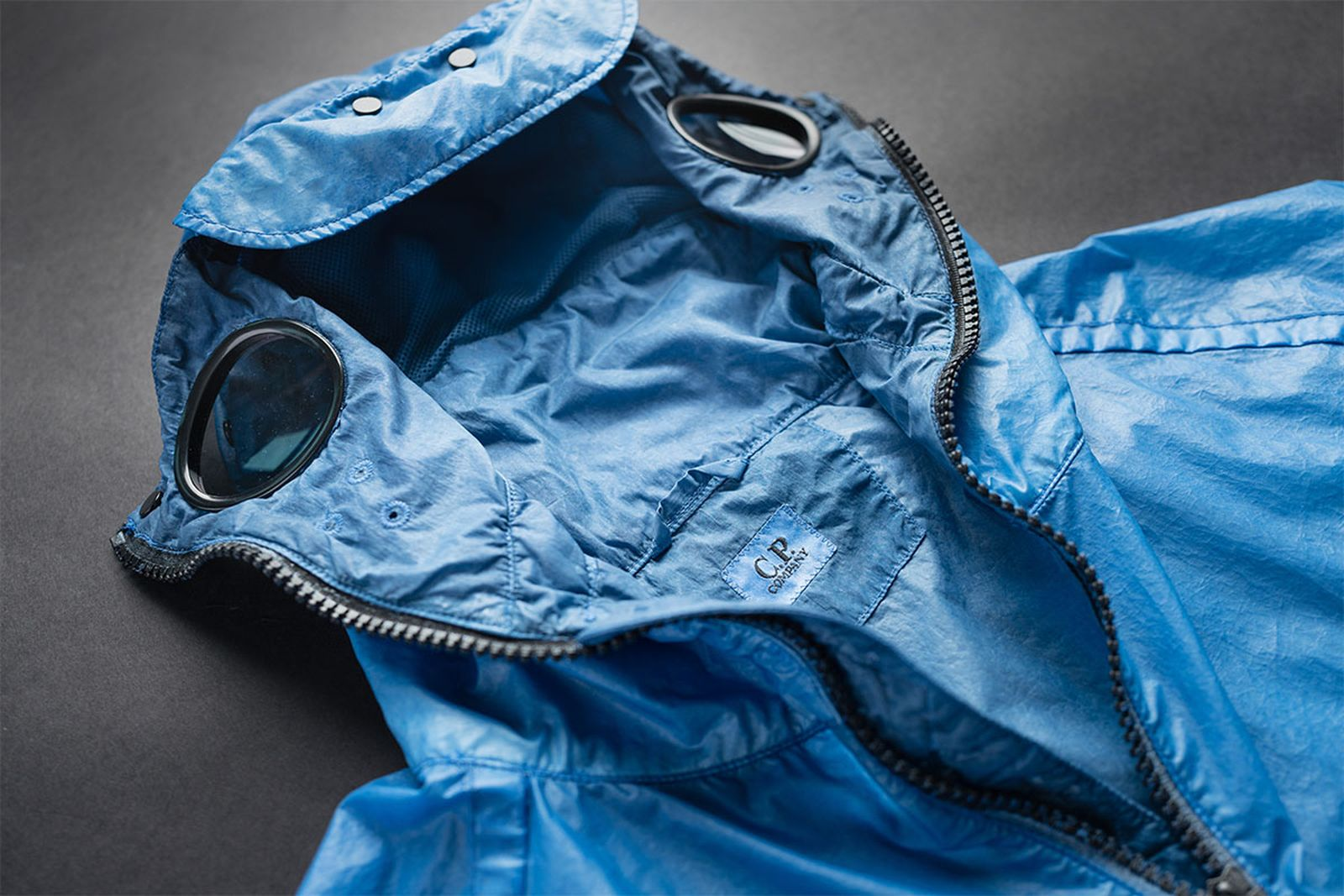 The NyBer Special Dyed Goggle Jacket in 'Riviera' blue.