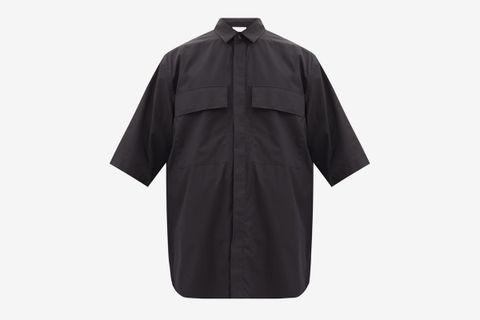 Flap-Pocket Oversized Cotton-Poplin Shirt