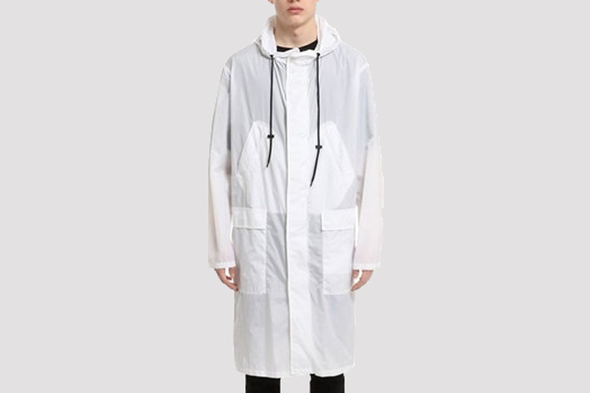 Paper effect long rain jacket