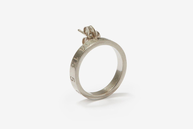 Number-Engraved Single Earring
