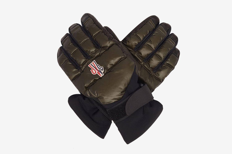Embroidered-Logo Leather-Palm Ski Gloves