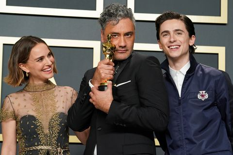 Natalie Portman, Taika Waititi, and Timothée Chalamet at the 92nd Annual Academy Awards