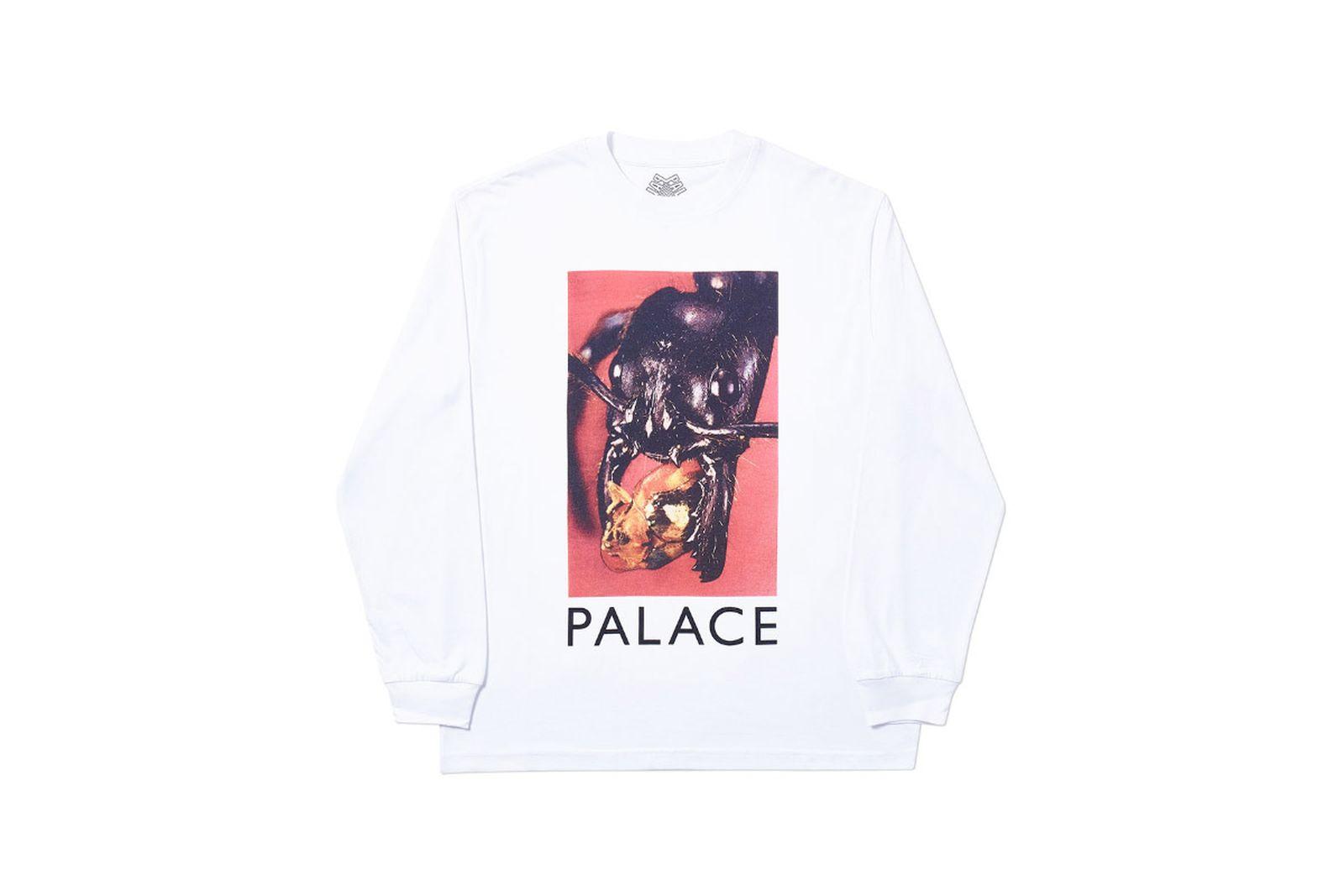 Palace 2019 Autumn Longsleeve T Shirt Bug Munch white 1365 ADJUSTED