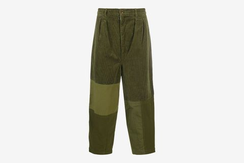Corduroy Panelled Cropped Trousers