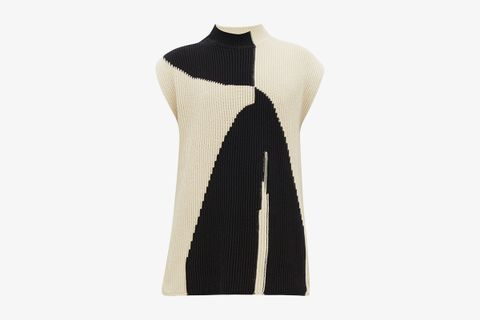 Abstract-Jacquard Sleeveless Sweater